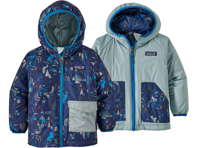 Patagonia Babies Reversible Puff-Ball Jacket Block Houses Two-Way-Classic Navy